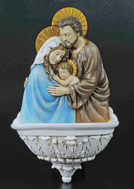 Holy Family Bronze Holy Water Font (bronze, color or white)