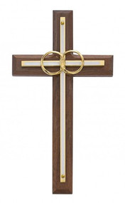 "WEDDING CROSS WALNUT STAINED WITH WHITE ENAMEL CROSS 6-1/2"" 71-12"