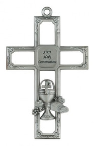 "PEWTER CHALICE CROSS 6"" 75-34"