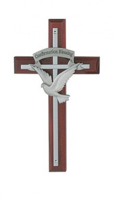 "SILVER HOLY SPIRIT CROSS ON CHERRY STAINED WOOD 7"" 77-12"