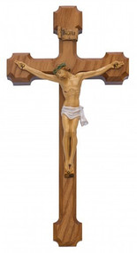 "WALNUT STAINED CRUCIFIX WITH HAND PAINTED ITALIAN CORPUS 10"" 80-149"