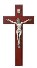 CHERRY STAINED FINE WOOD CRUCIFIX 8""