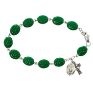 SHAMROCK OVAL GLASS ADULT ROSARY BRACELET 920D