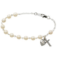 GLASS PEARL ADULT ROSARY BRACELET 6MM BR181D