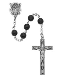 BLACK GLASS ROSARY 7MM 121L-BKF