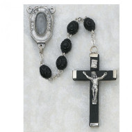 LOURDES MEN'S CARVED BLACK WOOD IMPORTED ROSARY 5X7MM 127R