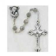 SILVER OX ROSEBUD IMPORTED ROSARY 5MM 143R