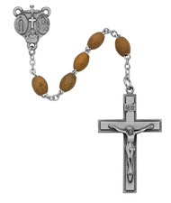 OLIVE WOOD ROSARY 4X6MM 171DF