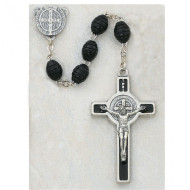 ST. BENEDICT CARVED WOOD IMPORTED ROSARY WITH ENAMELED CRUCIFIX 6X8MM 357R
