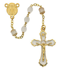 FROSTED ROSARY WITH GOLD PLATING 7MM 398HF