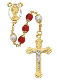 RED & PEARL CAPPED ROSARY WITH GOLD PLATING 8MM 452HF