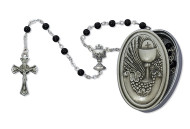 FIRST COMMUNION PEWTER BOX & BLACK ROSARY 463CBD