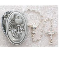 FIRST COMMUNION PEWTER BOX & WHITE ROSARY 466CBD