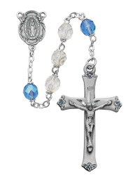 BLUE & CRYSTAL AURORA ROSARY 7MM 589D-BLF