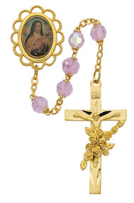 ST. THERESE L.F. TIN CUT ROSE AURORA ROSARY WITH GOLD PLATING 7MM 591PF