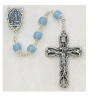 LOURDES IMPORTED LIGHT BLUE CAPPED ROSARY 8MM 601R