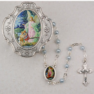 GUARDIAN ANGEL KEEPSAKE BOXED BABY BLUE PEARL ROSARY 3MM 760-90