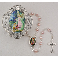 GUARDIAN ANGEL KEEPSAKE BOXED BABY PINK PEARL ROSARY 3MM 760-91
