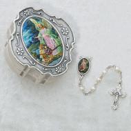GUARDIAN ANGEL KEEPSAKE BOXED BABY PEARL ROSARY 3MM760-93