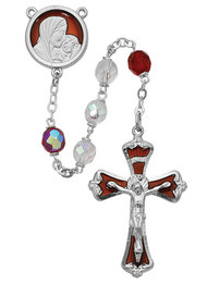 RED & CRYSTAL AURORA ROSARY 7MM 773RF