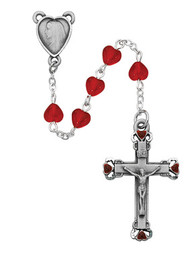 RUBY HEART ROSARY 6X6MM 822D-RUEF