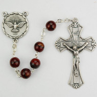 HOLY SPIRIT CENTER RED & BLACK IMPORTED ROSARY 7MM 833R