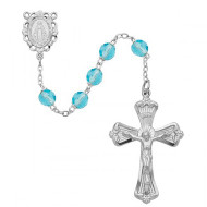 MARCH BIRTHSTONE IMPORTED ROSARY 6MM 880-AQ/KF