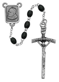 BLACK WOOD ROSARY 4X6MM 941DF