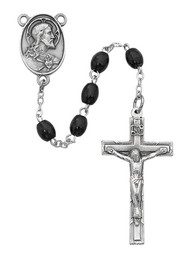 BLACK WOOD ROSARY 4X6MM 942DF