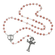 FROSTED PINK ROSARY WITH DOGWOOD CRUCIFIX 7MM 995DF