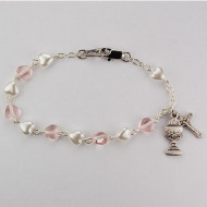 WHITE PEARL & PINK CRYSTAL HEART BRACELET BR446RW