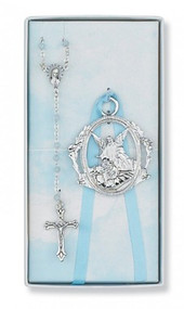 CHILDREN'S BLUE CRIB CROSS & ROSARY SET BS16