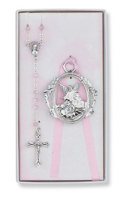 CHILDREN'S PINK CRIB CROSS & ROSARY SET BS17