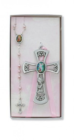 CHILDREN'S PINK CRIB CROSS & ROSARY SET BS36