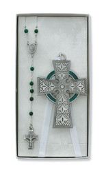 CHILDREN'S CRIB CELTIC CROSS & ROSARY SET BS38