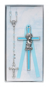 CHILDREN'S BLUE CRIB CROSS & ROSARY SET BS49