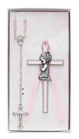 CHILDREN'S PINK CRIB CROSS & ROSARY SET BS50