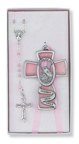 CHILDREN'S PINK CRIB CROSS & ROSARY SET BS8
