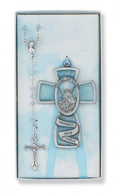 CHILDREN'S BLUE CRIB CROSS & ROSARY SET BS9