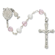 FIRST COMMUNION PEARL & PINK HEART ROSARY C58RW