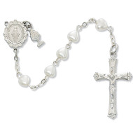 FIRST COMMUNION WHITE PEARL HEART ROSARY C60RW