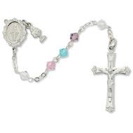FIRST COMMUNION MULTI COLOR TIN CUT CRYSTAL ROSARY C64RW