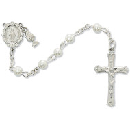 FIRST COMMUNION WHITE PEARL ROSARY 5MM C65RW