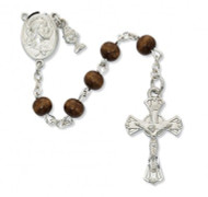 FIRST COMMUNION BROWN WOOD ROSARY 6MM C67RB