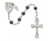 FIRST COMMUNION HEMATITE ROSARY 6MM C69RB