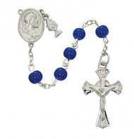 FIRST COMMUNION BLUE GLASS ROSARY 6MM C70RB
