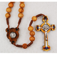ST. BENEDICT OLIVE WOOD IMPORTED CORDED ROSARY 7MM P153R