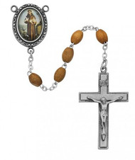 ST. FRANCIS OLIVE WOOD ROSARY 4X6MM R195DF