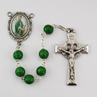 GREEN & BLACK ROSARY WITH PHOTO CENTER R206DF