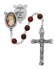 RED & BLACK ROSARY WITH PHOTO CENTER 7MM R218DF
